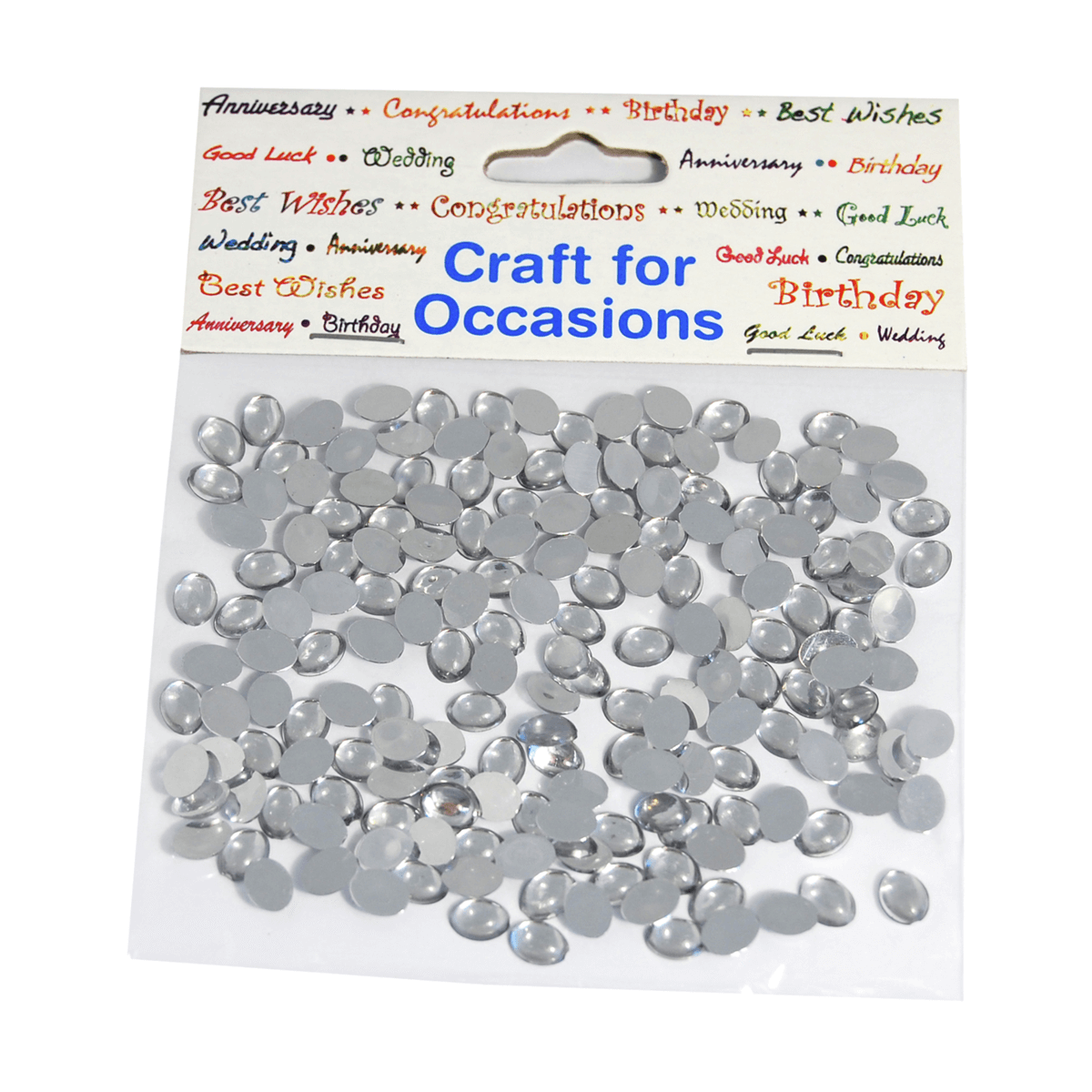 180 x Crystal Domes Oval Silver Craft Embellishments Cardmaking