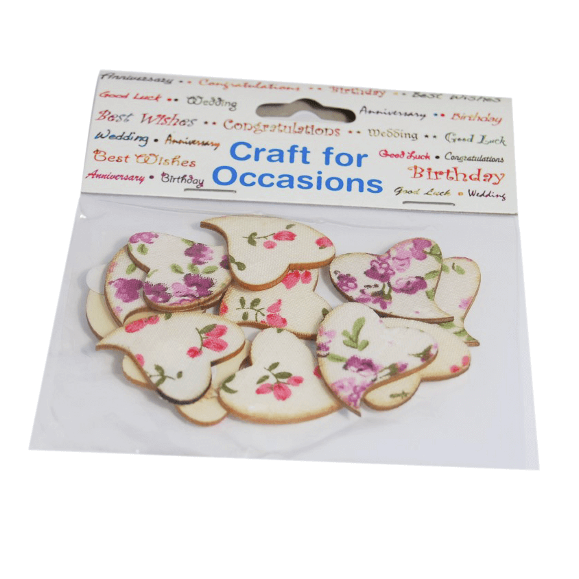 12 x Floral Hearts Nature Embellishments Craft Summer