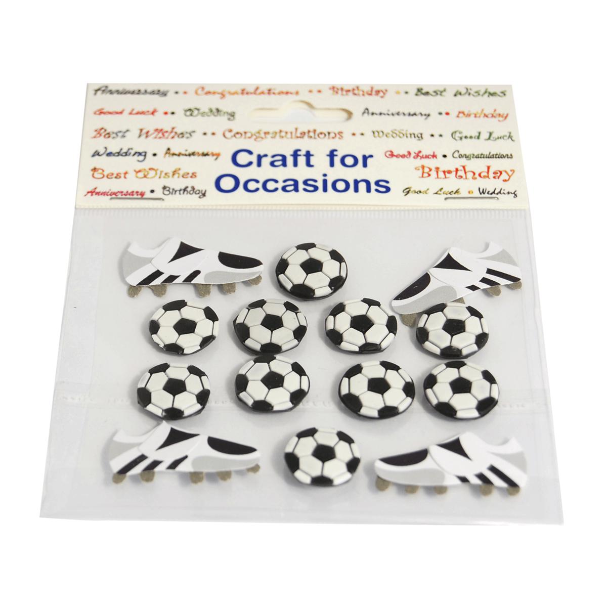 14 x Football Boots & Balls Embellishments Craft