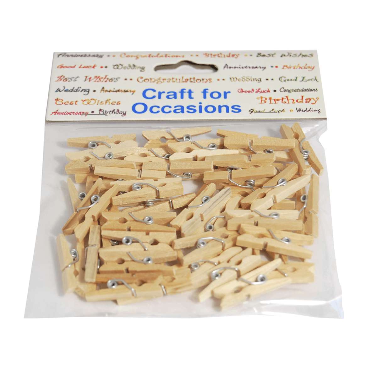45 x Natural Wood 25mm Craft Pegs Embellishments