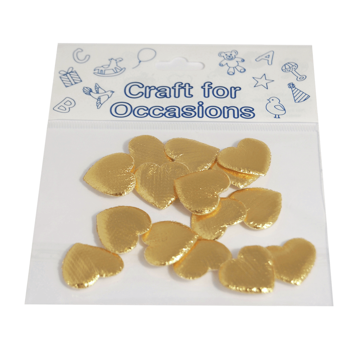 15 x Padded Hearts 2cm Metallic Gold Embellishment Craft Cardmaking