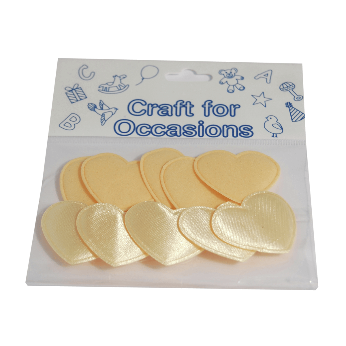 10 x Satin Velvet Hearts 3cm Ivory Embellishment Craft Cardmaking