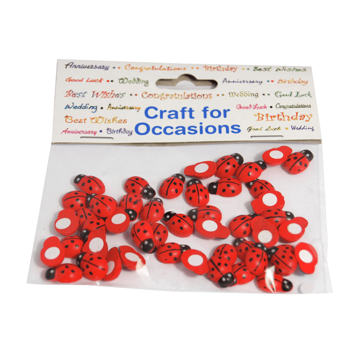 48 x 12mm Red Wooden Ladybird Embellishments Craft Cardmaking Scrapbooking