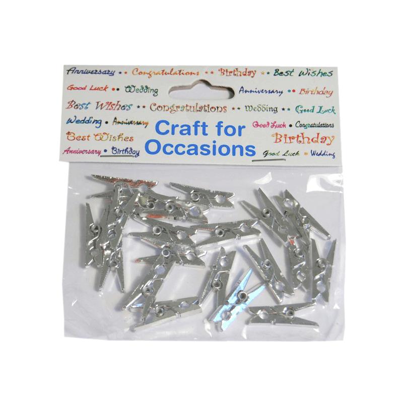 20 x Metallic Craft Pegs Embellishments