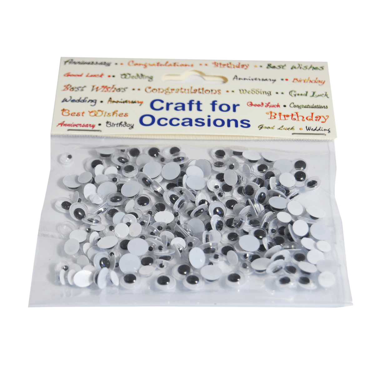 208 x Assorted Wobbly Eyes Embellishment Craft Cardmaking