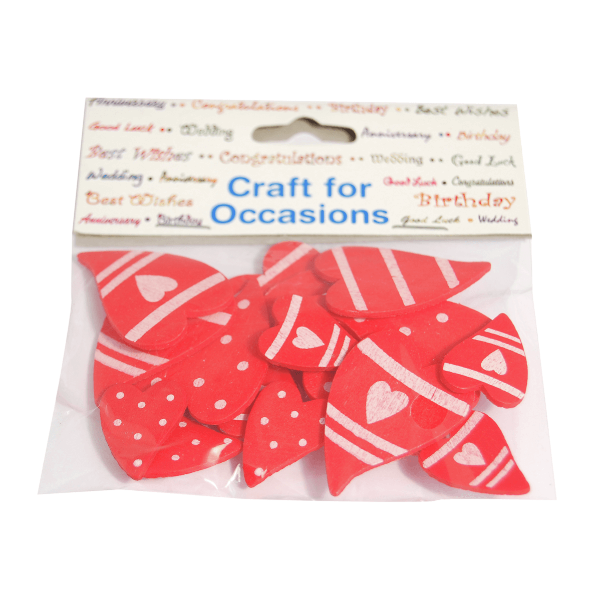 18 x Hearts Red Padded Embellishment Craft Cardmaking