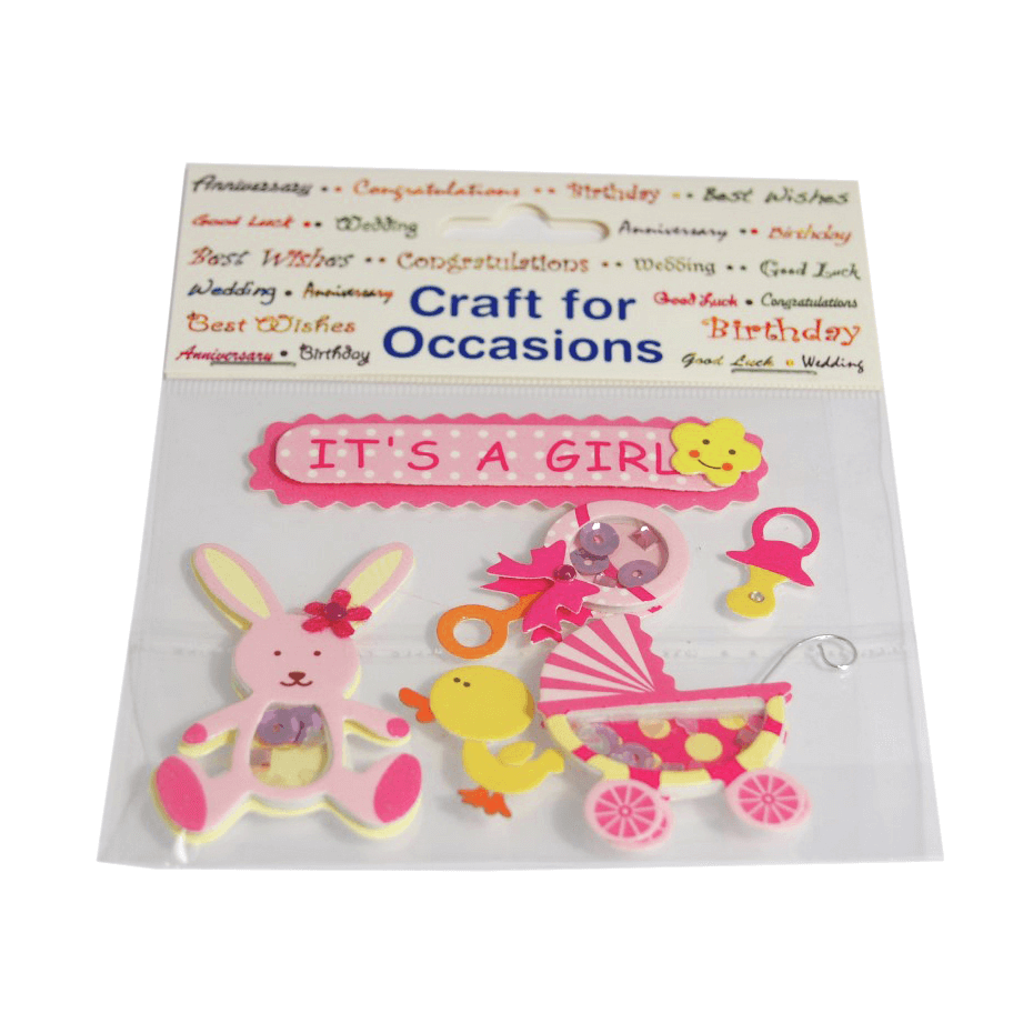 6 x It's a Girl Kit! Craft Embellishments Cardmaking