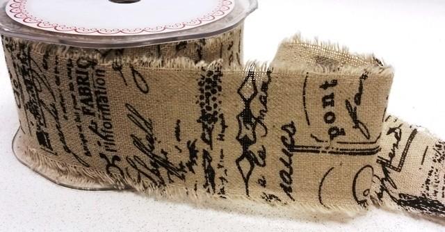 50mm Bertie's Bows Black Scroll Vintage Printed Burlap Hessian Craft Ribbon