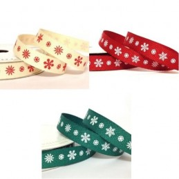 10mm Printed Large and Small Snowflake Twill Tape Ribbon