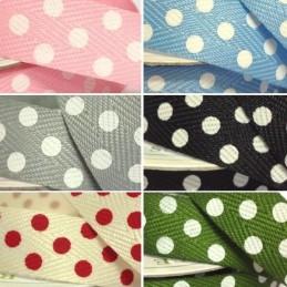 15mm Twill Tape Ribbon 4mm Polka Dots On Craft 4 Metre Reel