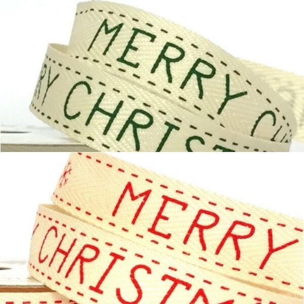 15mm Merry Christmas Festive Printed Twill Tape