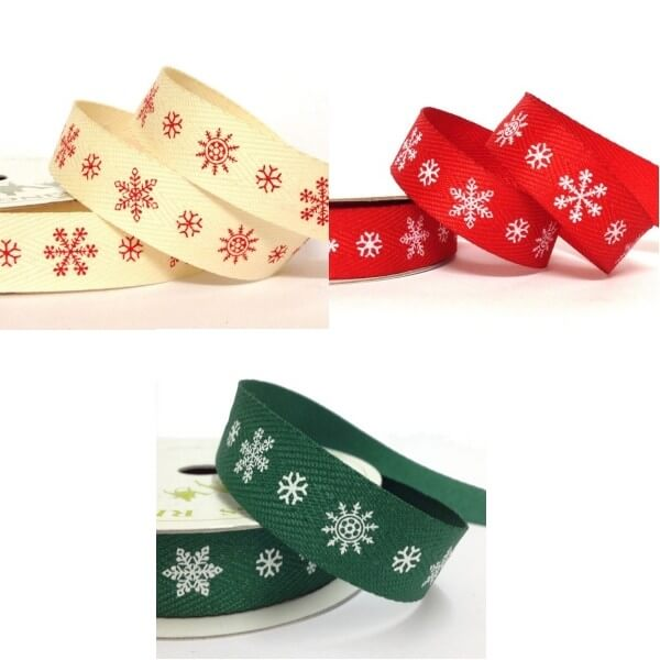 15mm Printed Large and Small Snowflake Twill Tape Craft Ribbon 4 Metre Reel