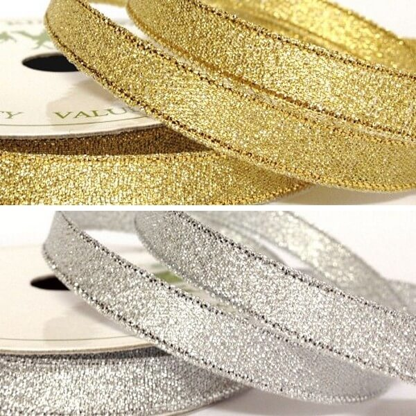 10mm Metallic Glitter Sparkle Gold or Silver Craft Occasion Gift Ribbon 5m Reel