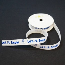 15mm Let It Snow Festive Snowman Twill Tape Craft Ribbon 4 Metre Reel