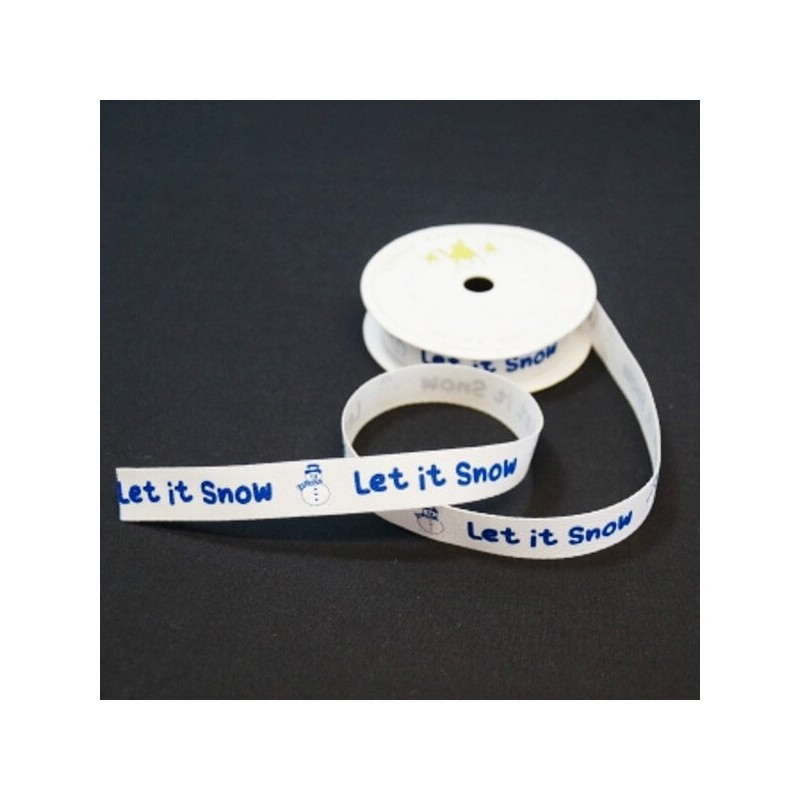 15mm Let It Snow Festive Snowman Twill Tape Craft Ribbon 4 Metre Reel