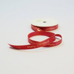 10mm Festive Merry Christmas Glitter Satin Craft Ribbon 4 Metre Reel