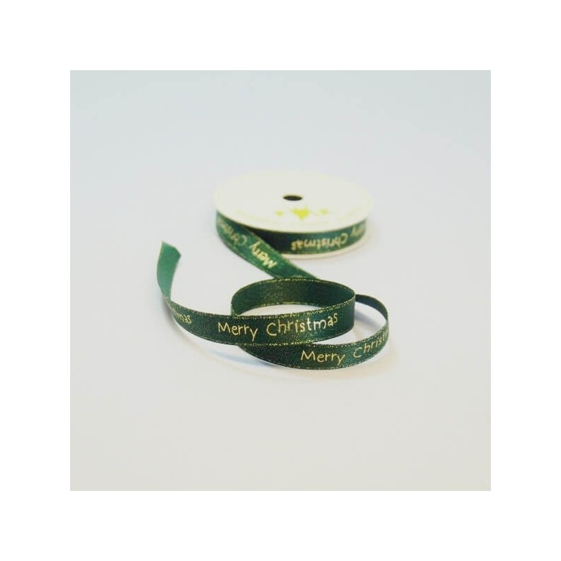 10mm Festive Merry Christmas Glitter Satin Craft Ribbon 4 Metre Reel