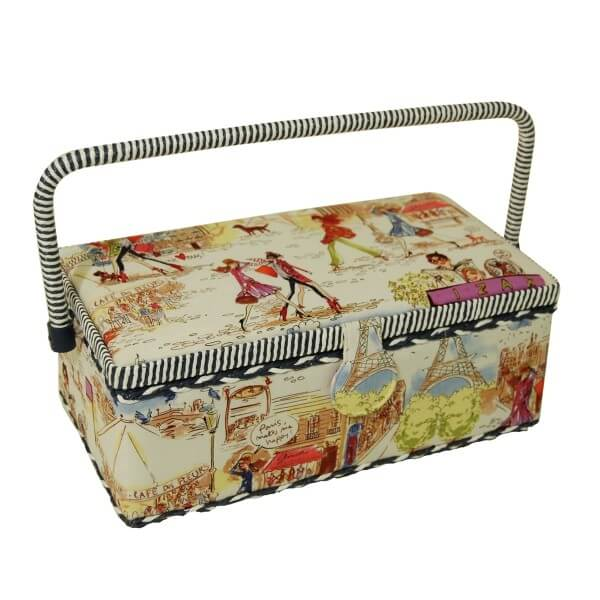 Chic Paris Fashionista Medium Rectangular Sewing Basket Craft Hobby