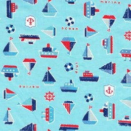Kids Boat Sailing Adventure Marine Ship Ocean 100% Cotton Fabric