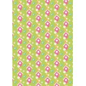 Vegetable Patch Floral Pink and Green 100% Cotton Fabric Patchwork (Fabric Freedom)
