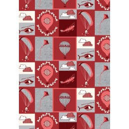 100% Cotton Fabric by Fabric Freedom Head in The Clouds Planes Helicopters Red