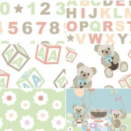 Teddy Bears Picnic Pastel 100% Cotton Fabric Patchwork (Fabric Freedom)