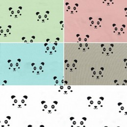 Cute Invisible Panda Faces Cotton Elastane Fabric