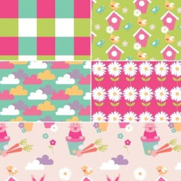 Vegetable Patch Floral Pink Green 100% Cotton Fabric Patchwork (Fabric Freedom)