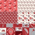 Head in The Clouds Planes Helicopters Red 100% Cotton Fabric Fabric Freedom