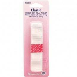 Ribbed Non Roll Elastic White In 12mm, 20mm, 25mm