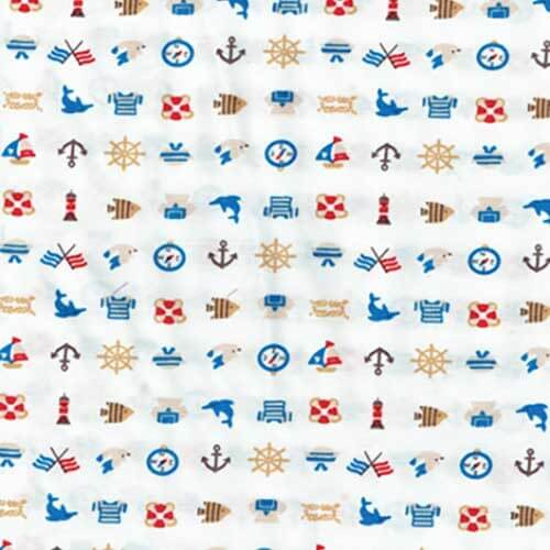 Ships Sailors Dolphins Sea Helm Boat Lighthouse Fish Compass 100% Cotton Fabric