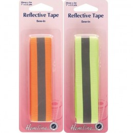 Hemline Reflective Sew In Tape 2m x 25mm In Orange Or Yellow