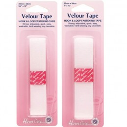 Hemline White Sew On Hook & Loop Fastening Tape Velour 20mm Or 25mm