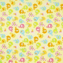 Mini Tumbling Floral Elephants 100% Cotton Poplin Fabric (Fabric Freedom)