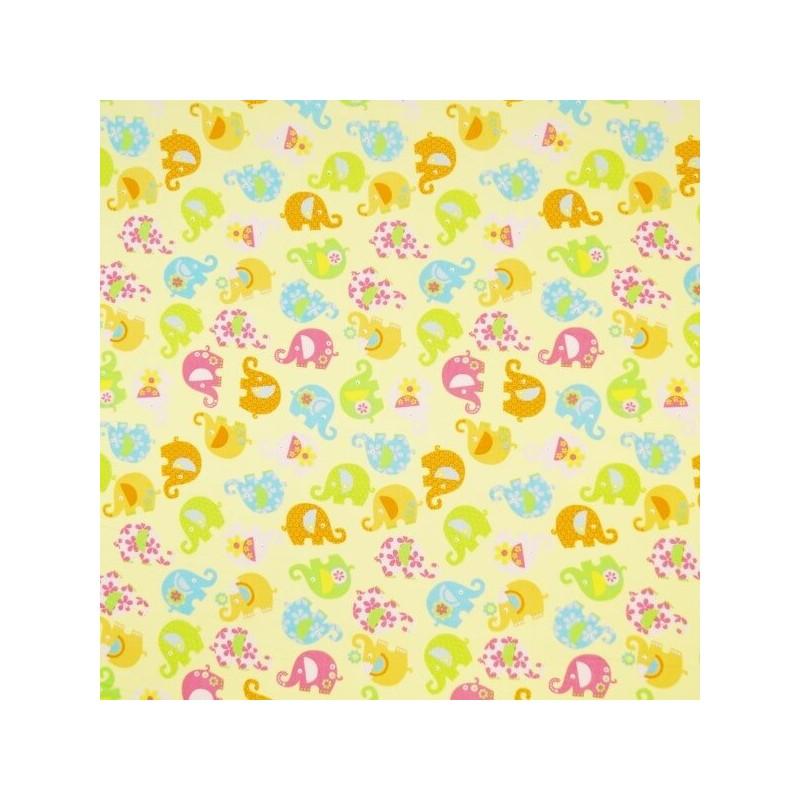 Mini Tumbling Floral Elephants 100% Cotton Poplin Fabric Patchwork (Fabric Freedom)
