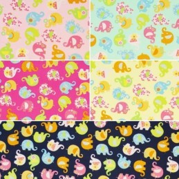 Mini Tumbling Floral Elephants 100% Cotton Poplin Fabric (Fabric Freedom)