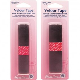 Hemline Black Sew On Hook & Loop Fastening Tape Velour 20mm Or 25mm