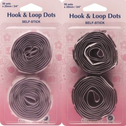 Hemline 50 x 20mm Dots Self Stick Hook & Loop Velour Black Or White