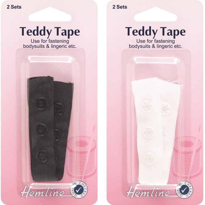Hemline Teddy Tape / Snap Tape 2 Sets 19mm In Black Or White