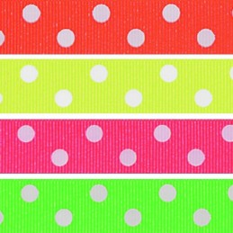 16mm x 2m, 5m, 10m Neon Spotty Dot Fluorescent Berisfords Essential Ribbon Craft