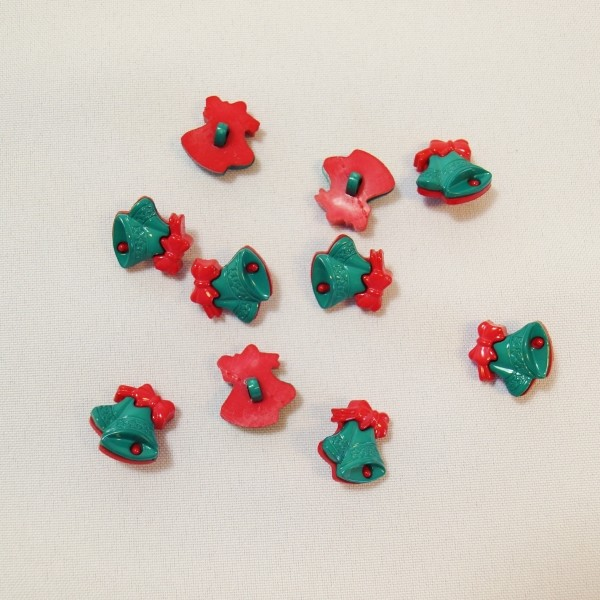 10 x 18mm Christmas Bells Green Red Plastic Shank Back Festive Craft Buttons