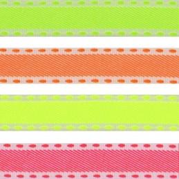 15mm x 2m, 5m, 10m Neon Stitch Fluorescent Berisfords Essential Ribbon Craft