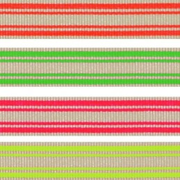 10mm x 2m, 5m, 10m Neon Stripe Fluorescent Berisfords Essential Ribbon Craft