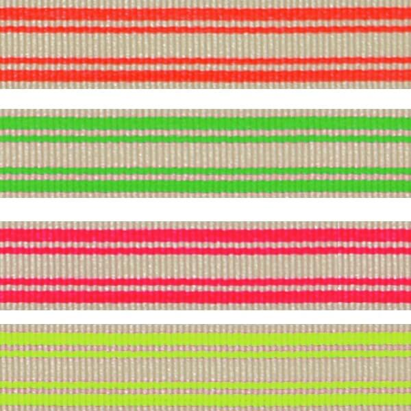 10mm x 2m, 5m, 10m Neon Stripe Fluorescent Berisfords Essential Ribbon Craft