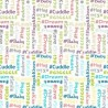 Hashtag Words Emotions Word Cloud 100% Cotton Fabric