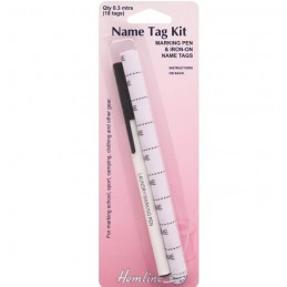 Hemline Name Tag Kit With 18 Tags And Pen