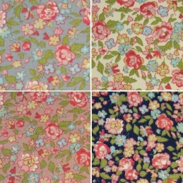 Whitby Watercolour Packed Flower Head 100% Cotton Poplin Fabric (Fabric Freedom)