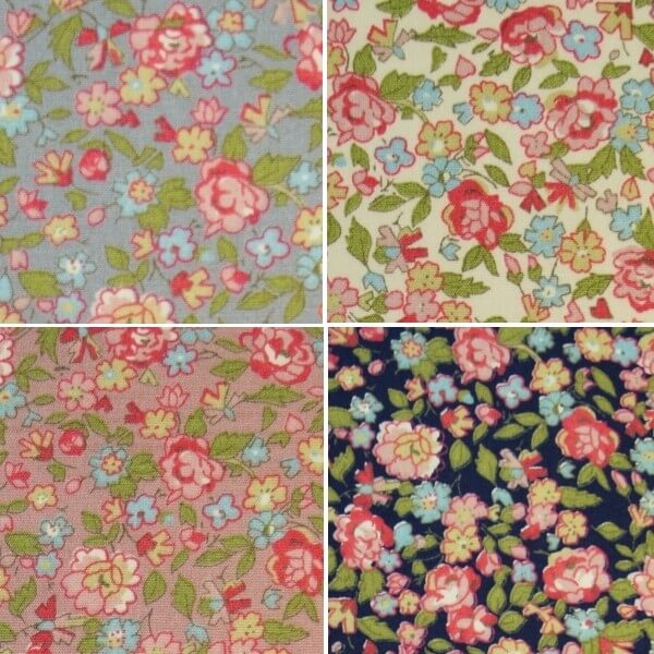 Whitby Watercolour Floral Packed Flower Heads 100% Cotton Poplin Fabric (FF)