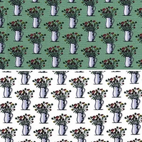 Vases of Posies Bunches of Floral Flowers 100% Cotton Poplin Fabric