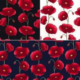 Penkridge Poppy Flowers Floral Poppies 100% Cotton Poplin Fabric
